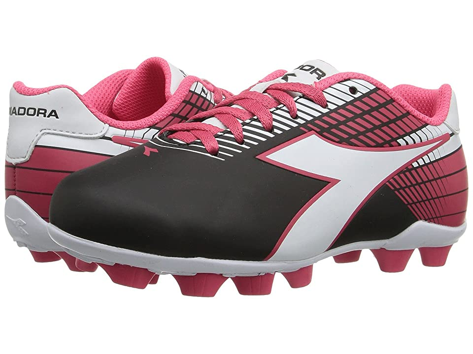 Diadora Kids Ladro MD JR Soccer (Toddler/Little Kid/Big Kid) (Black/White/Pink) Kids Shoes