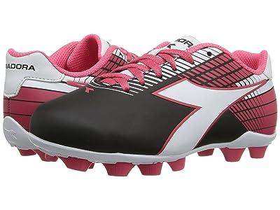 Diadora Kids Ladro MD JR Soccer (Toddler/Little Kid/Big Kid) (Black/White/Pink) Kids Shoes