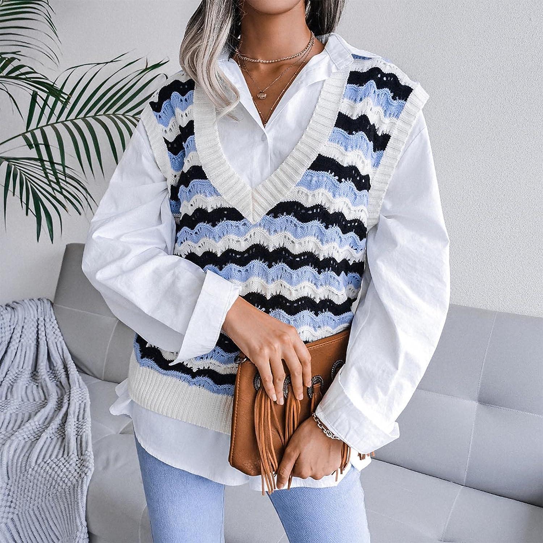 Women's Knitted Sweater Vest Casual Stripe V-Neck Preppy Style Sweaters Sleeveless Knitwear Tank Tops Blouses for Women