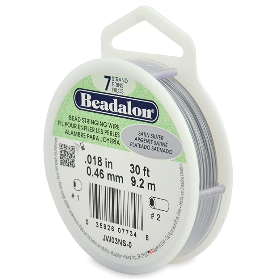 Beadalon 7-Strand Stainless Steel 0.018-Inch Bead Stringing Wire, 30-Feet, Satin Silver