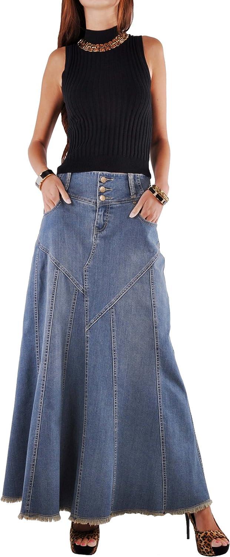 Style J Fantastic Flared Long Jean Skirt