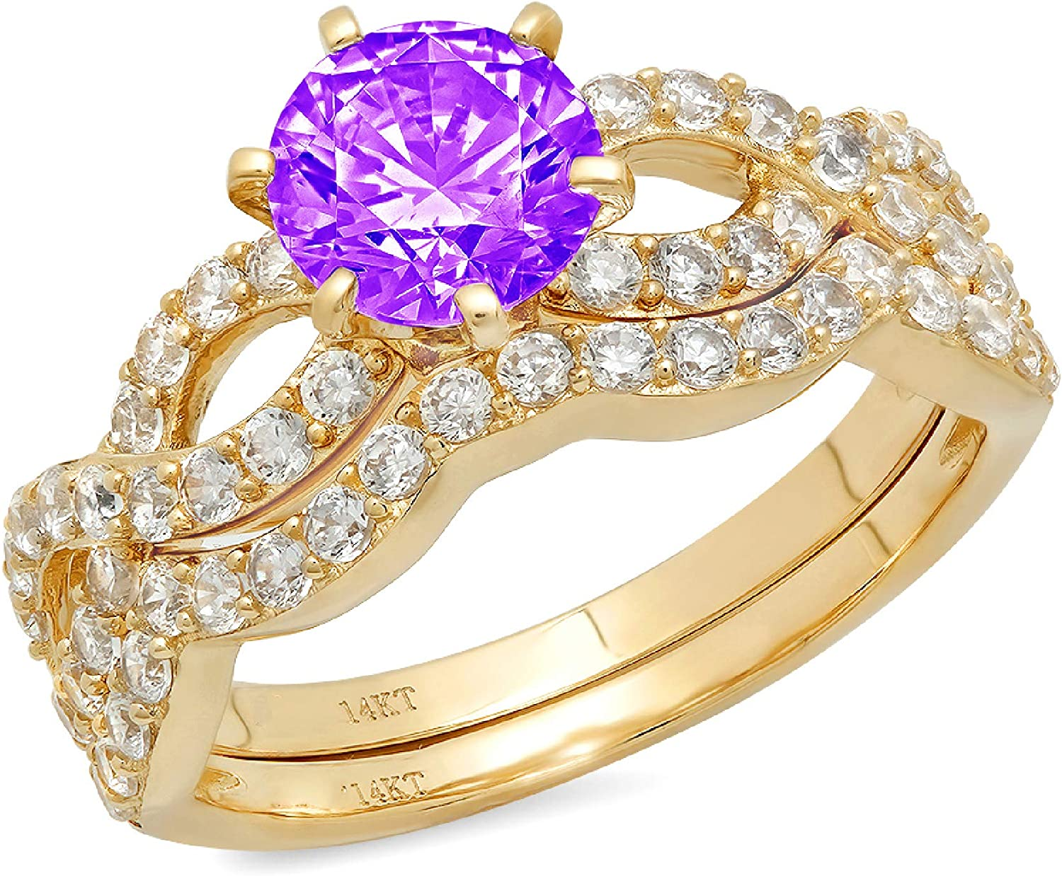 1.49ct Round Cut Halo Pave Solitaire Split Shank Accent VVS1 Ideal Natural Purple Amethyst Engagement Promise Designer Anniversary Wedding Bridal Ring band set Curved 14k Yellow Gold