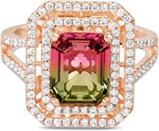 INSPIRED BY YOU. Rose Gold Plated Sterling Silver Emerald Cut Simulated Watermelon Tourmaline and Cubic Zirconia Halo Cock...