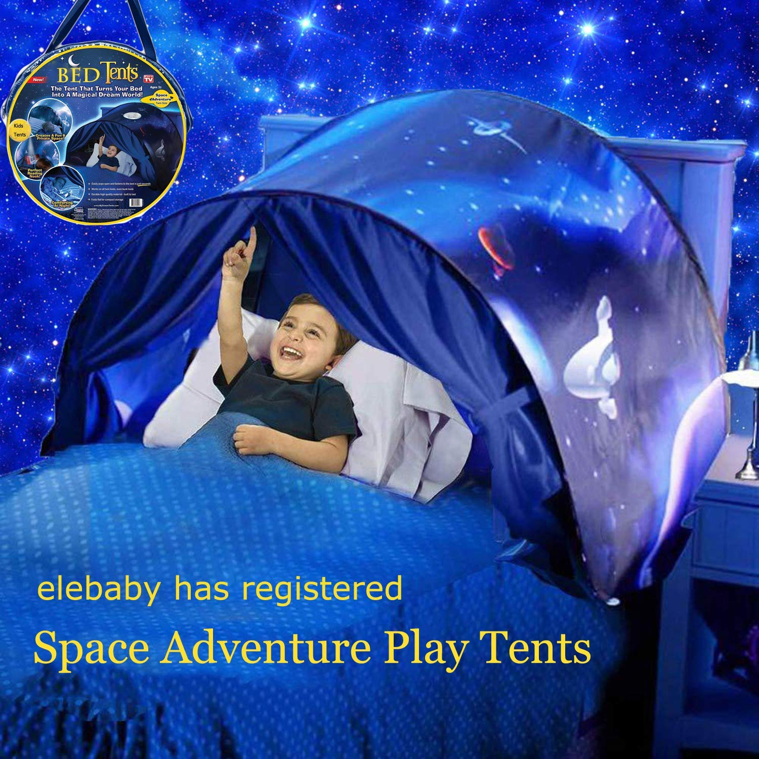 elebaby Deluxe Kids Bed Tent Dinosaur Island Funny Play Tent Pop-up Tent Indoor Foldable Playhouse Bedroom Decoration with GIFT Drawstring Bag