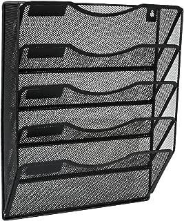 EasyPAG 5 Pockets Wall File Holder Organizer Hanging Magazine Rack,Black