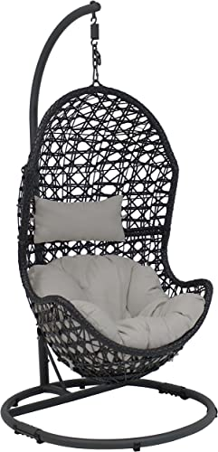 wholesale Sunnydaze Cordelia Hanging Egg online Chair Swing with Steel Stand Set - Resin Wicker Porch Swing - Large Basket Design Patio Swing - Outdoor Lounging Chair - sale Includes Gray Cushion and Headrest online sale
