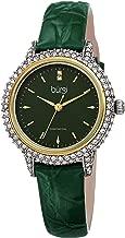 Burgi Swarovski Crystal Studded Case Watch - Encrusted with 164 Swarovski Crystals On Genuine Alligator Embossed Patent Leather Strap - Two Genuine Diamonds at 12 Hour- BUR249