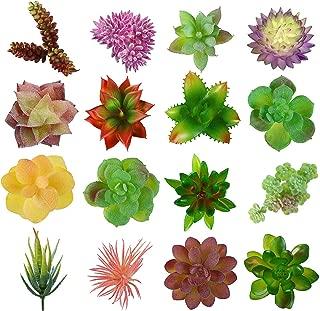 Lasimonne 16 Pcs Mini Artificial Succulent Flocking Plants Unpotted Faux Succulent Picks Fake Plants for Decoration