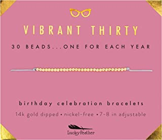 30th Birthday Gifts for Women; 30th Birthday Bracelet with 14K Gold Dipped Beads on Adjustable Cord; 30 Jewelry Birthday Gift Ideas for Her