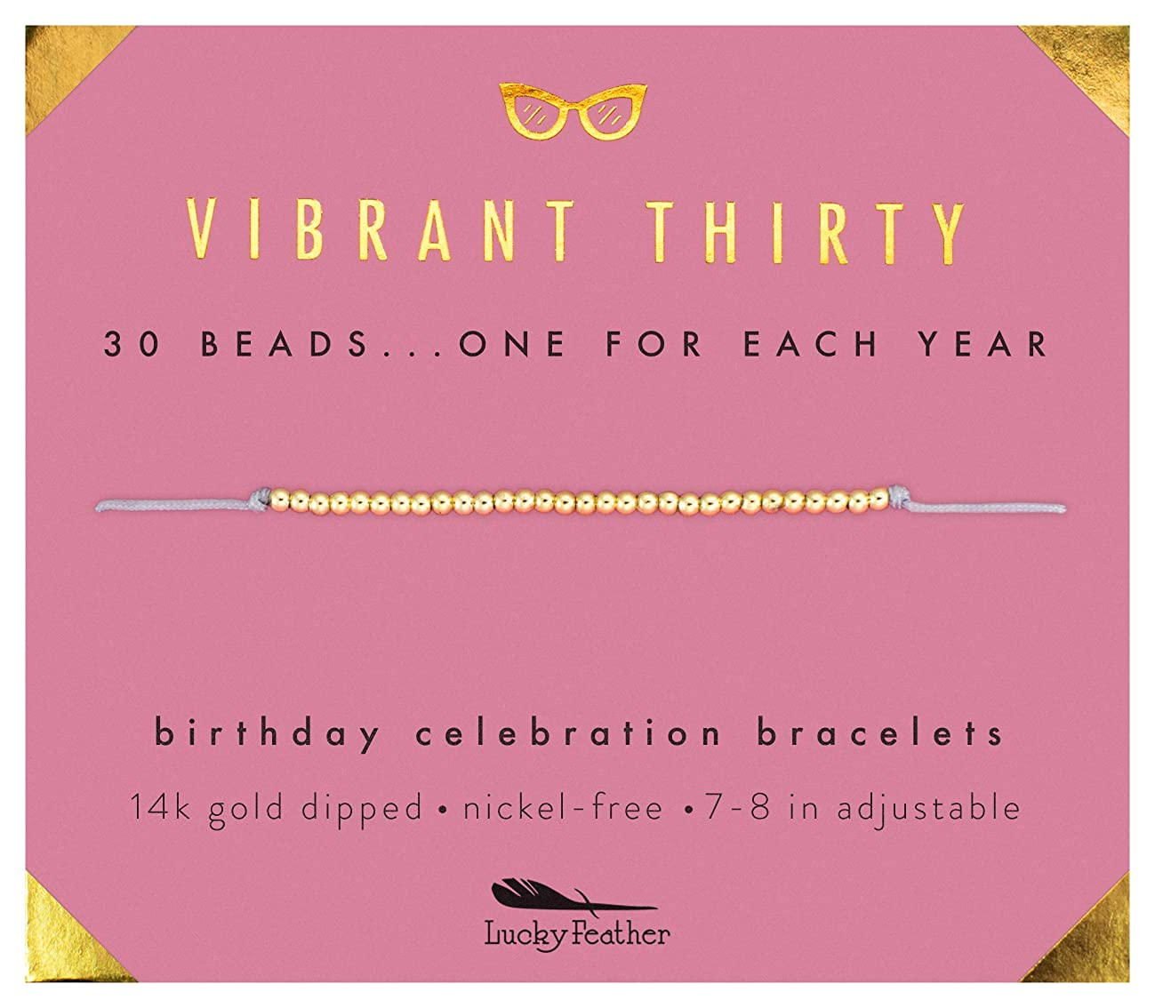 """Lucky Feather 30th Birthday Gifts for Women - Vibrant Thirty 14K Gold Dipped Beads Bracelet on Adjustable 7""""- 8"""" Cord - 30 Birthday Gift Ideas for Her"""