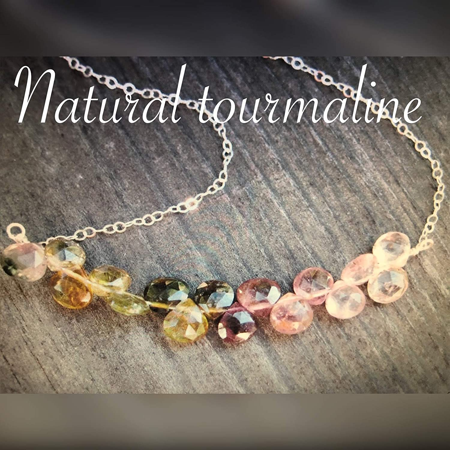 Multi color natural Tourmaline and Silver Neck Handmade Regular store Sterling Max 68% OFF