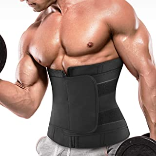 Mens Neoprene Abs Sauna Sweat Band Belly Fat Burning Slimming Belt Active Waist Trainer Trimmer with Adjustable Strap for Weight Loss