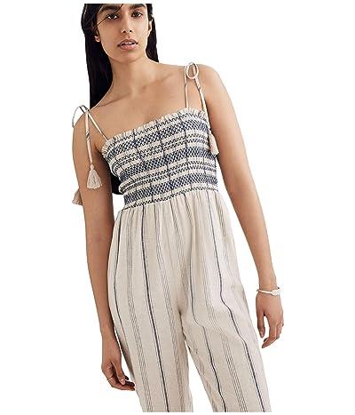 Madewell Smocked Cami Jumpsuit (Space Stripe Dark Midnight) Women