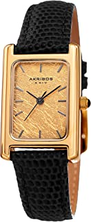 Akribos XXIV Leather Women's Watch AK1046 – Small Rectangular Case, Genuine Gold or Platinum Leaf Dial, Lizard Skinny Strap, Three Hand Quartz Movement