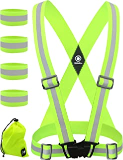 HiVisible Reflective Vest with Reflective Bands - Reflective Running Gear for Men and Women for Night Running,  Biking,  Walking. Reflective Running Vest,  Safety Straps,  Reflector Strips