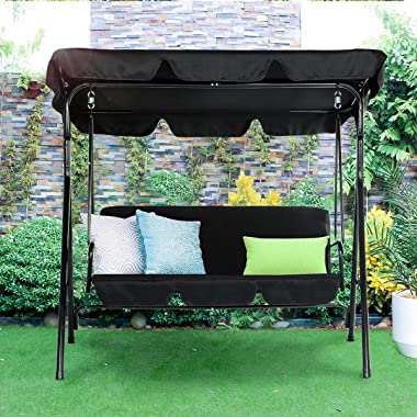 Esright Outdoor Patio Swing Chair, Canopy Swing with Removable Cushion and Weather Resistant Powder Coated Steel Frame, Suita