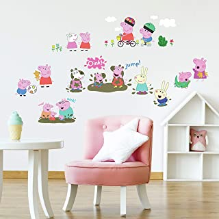 RoomMates RMK3183SCS Peppa The Pig Peel And Stick Wall Decals, Multi color
