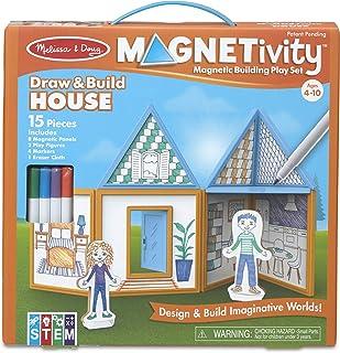 Melissa & Doug Magnetivity Building Play Set – Draw & Build House