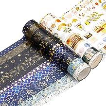 Washi Tape Set 18 Rolls Washi Tape Multi-Size Decorative Colored Tape Gold Foil Skinny Pattern Tape for Craft Scrapbook Bu...