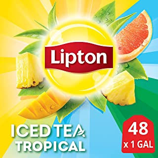 Lipton Tropical Unsweetened Iced Tea Bags Made with Tea Leaves Sourced from Rainforest Alliance Certified Farms, 1 gallon, 2x Pack of 24