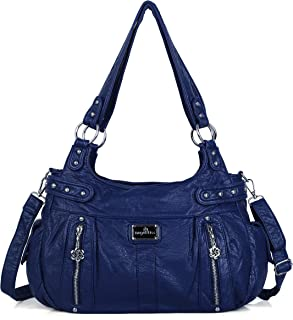 Angelkiss Design Handbags Womens Purse Feel Soft Lether Multiple Top Zipper Pockets Shoulder Bags Large