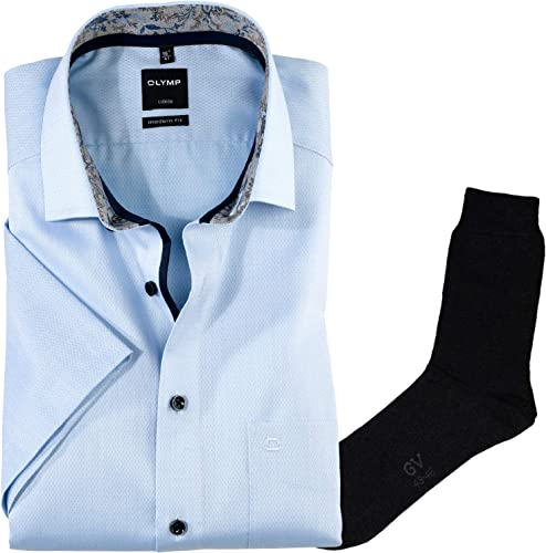 Hemd Olymp modern fit Global Kent, Kurzarm+ 1 Paar hochwertige Socken, Bundle