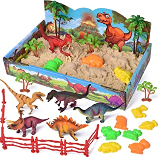 29 PCs Play Sand Dinosaur Toys, Sand Box with Dinsoaur Figures, Dinosaur Molds, Magic Sand and Accessories