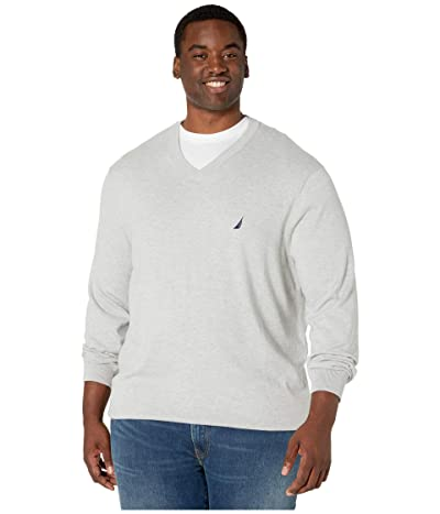 Nautica Big & Tall Big Tall V-Neck Navtech Knit Sweater (Grey Heather) Men