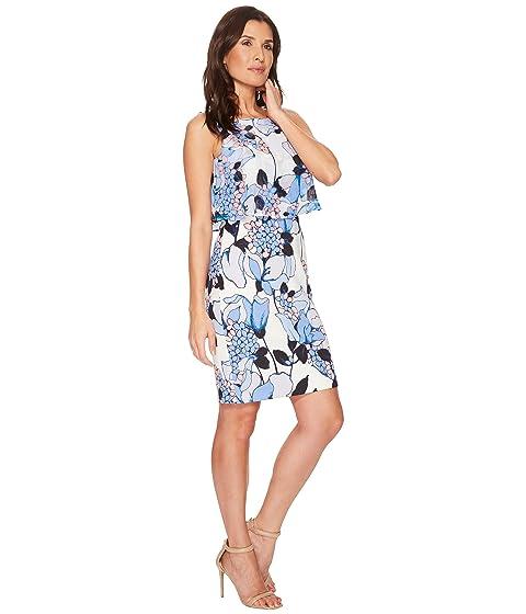 Ivanka Dress Sleeveless Trump Scuba Popover Printed Georgette 880AZw