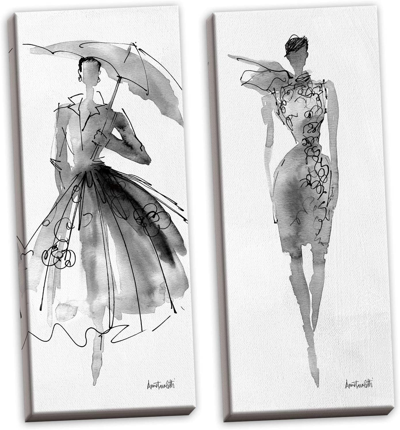 Amazon Com Gango Home Décor Trendy Runway Fashion Model Sketch Panel Sets By Anne Tavoletti Two 8x20in Stretched Canvases Posters Prints