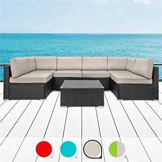 Walsunny 7pcs Patio Outdoor Furniture Sets,Low Back All-Weather Rattan Sectional Sofa with Tea Table&Washable Couch Cushions (Black Rattan (Blue) (Khaki)