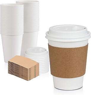اكواب قهوة بيضاء ذات اغطية قوسية بيضاء واغلفة بنية، تستعمل مرة واحدة 12 اونصة لاحتساء المشروبات على الطريق مثل الشوكولاتة ...