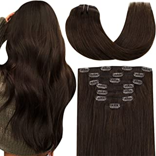 Hetto Invisible Clip in Hair Extensions 100g 7pcs Remy Real Human Hair Extensions Clip in 20 Inch #4 Dark Brown Straight F...