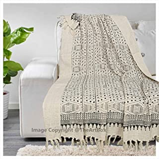 THE ART BOX Cotton Throw Blanket 100% Cotton Indian Blankets Throws Woven Soft Comfy Blankets 72 x 52 inches (Brown, 72x52 Inch)