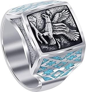 Gem Avenue Mens 925 Sterling Silver Southwestern Style Turquoise Gemstone Eagle Ring