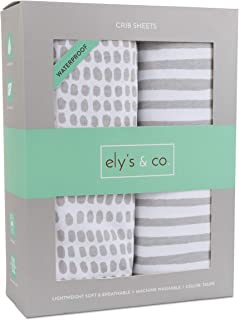 Waterproof Crib Sheet | Toddler Sheet no Need for Crib Mattress Pad Cover or Protector I Taupe Splash and Stripes by Ely's & Co.