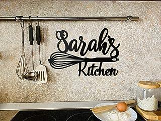 Personnalisé signe en métal de cuisine, Cadeau pour maman, grand-mère Votre nom, Art décoration murale, Maison nom plaque ...