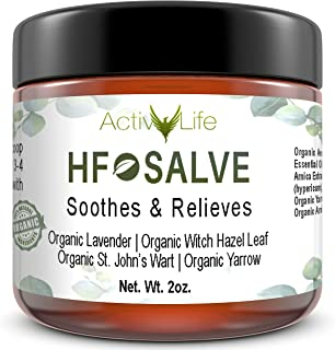 Organic HF Salve Emollient Cream Balm Heals & Relieves Symptoms Associated with Hemorrhoids, Fissures, Post-Partum Care | Herbal Essential Oil Healing Formula Works Quickly to Relieve Pain & Itching