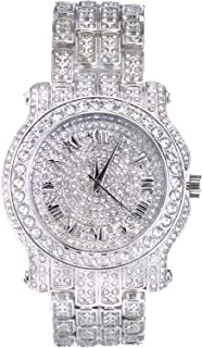 Gold or Silver 45mm Iced Out Pave Watch with Adjustable Band - Quartz Movement (Also in Two Tone)