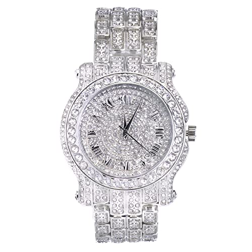 Techno Pave Totally Iced Out Pave Silver Tone Hip Hop Mens Bling Bing Watch