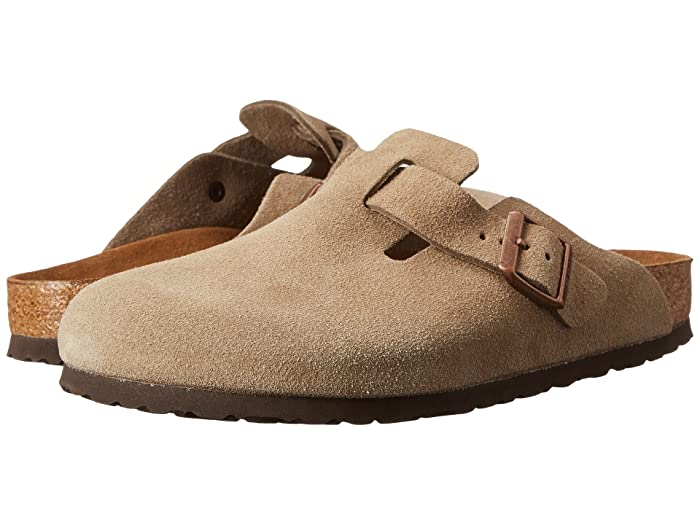 Retro Vintage Flats and Low Heel Shoes Birkenstock Boston Soft Footbed Unisex Taupe Suede Clog Shoes $145.00 AT vintagedancer.com