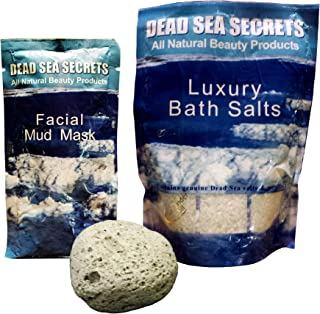 Premier Dead Sea Salt Foot Soak from Israel, Plus All Natural Volcanic Pumice Stone, Plus Special Bonus Dead Sea Mud Mask, Amazing Relaxing Foot Spa, Healing Foot Scrubber, Mask Foot Peel