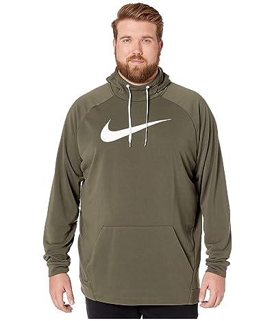 Nike Big Tall Dry Hoodie Pullover Swoosh (Cargo Khaki/White) Men
