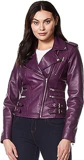 Mystique' Ladies Purple Biker Style Motorcycle Designer Napa Leather Jacket 7113