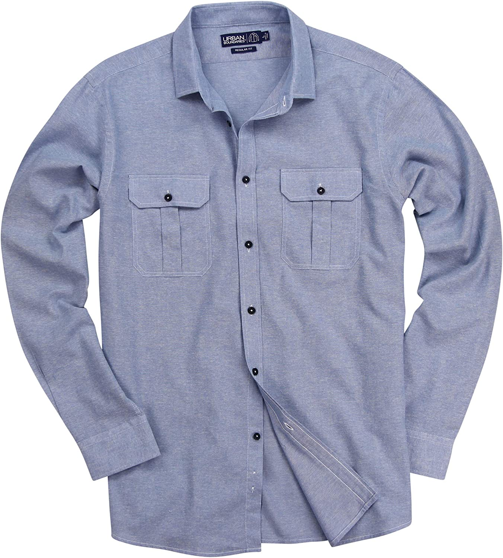 Urban Boundaries Mens Chambray Button Down Long Sleeve Casual Shirt