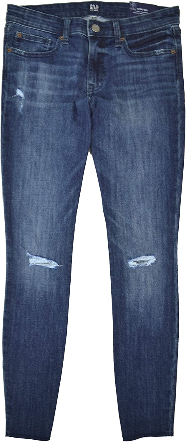 Gap Womens Mid Rise Destructed Jeggings Skimmer with RawHem