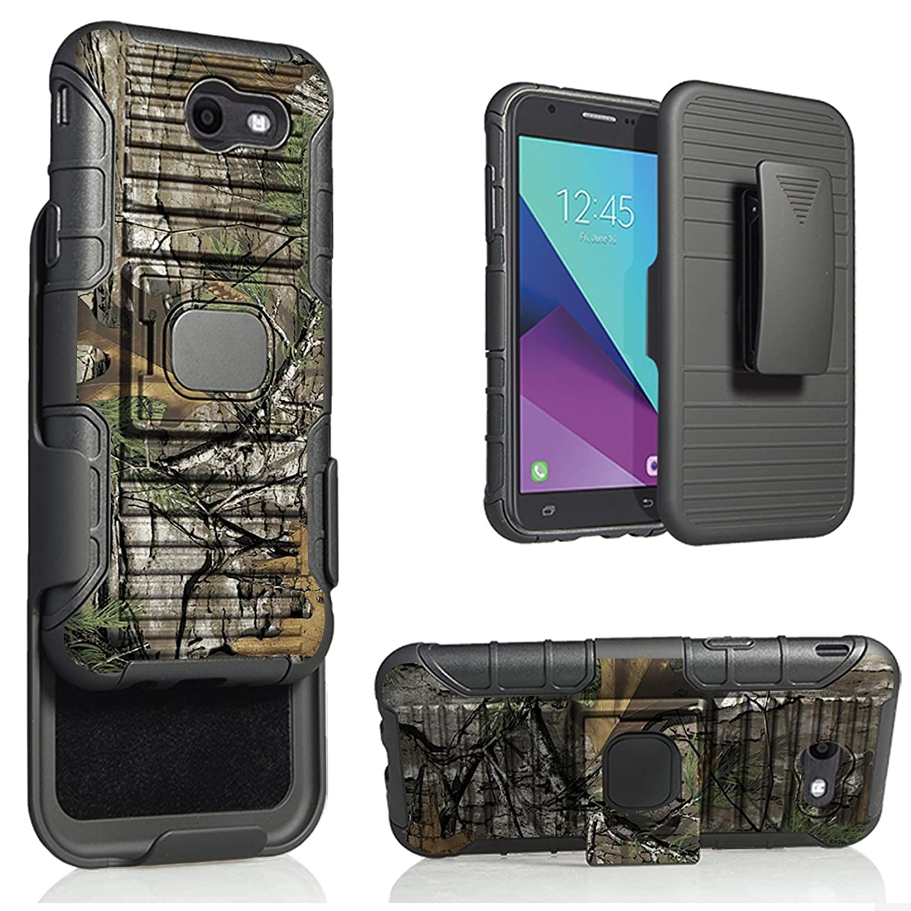 Galaxy J3 Prime Case Bundle With Tempered Glass Protector, Starshop W/Built-In Magnet And Ring For Galaxy J3 Emerge/Galaxy J3 Luna Pro/J3 Eclipse/J3 Mission/Express Prime 2/Sol 2/J3 2017 (Camo)