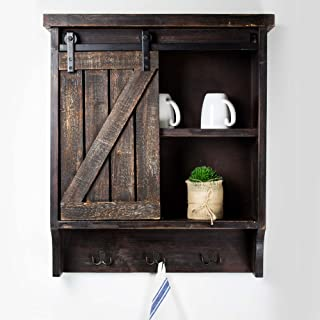 American Art Décor Wood and Metal Storage Cabinet with Sliding Barn Door and Hooks - Vintage Country Farmhouse Décor