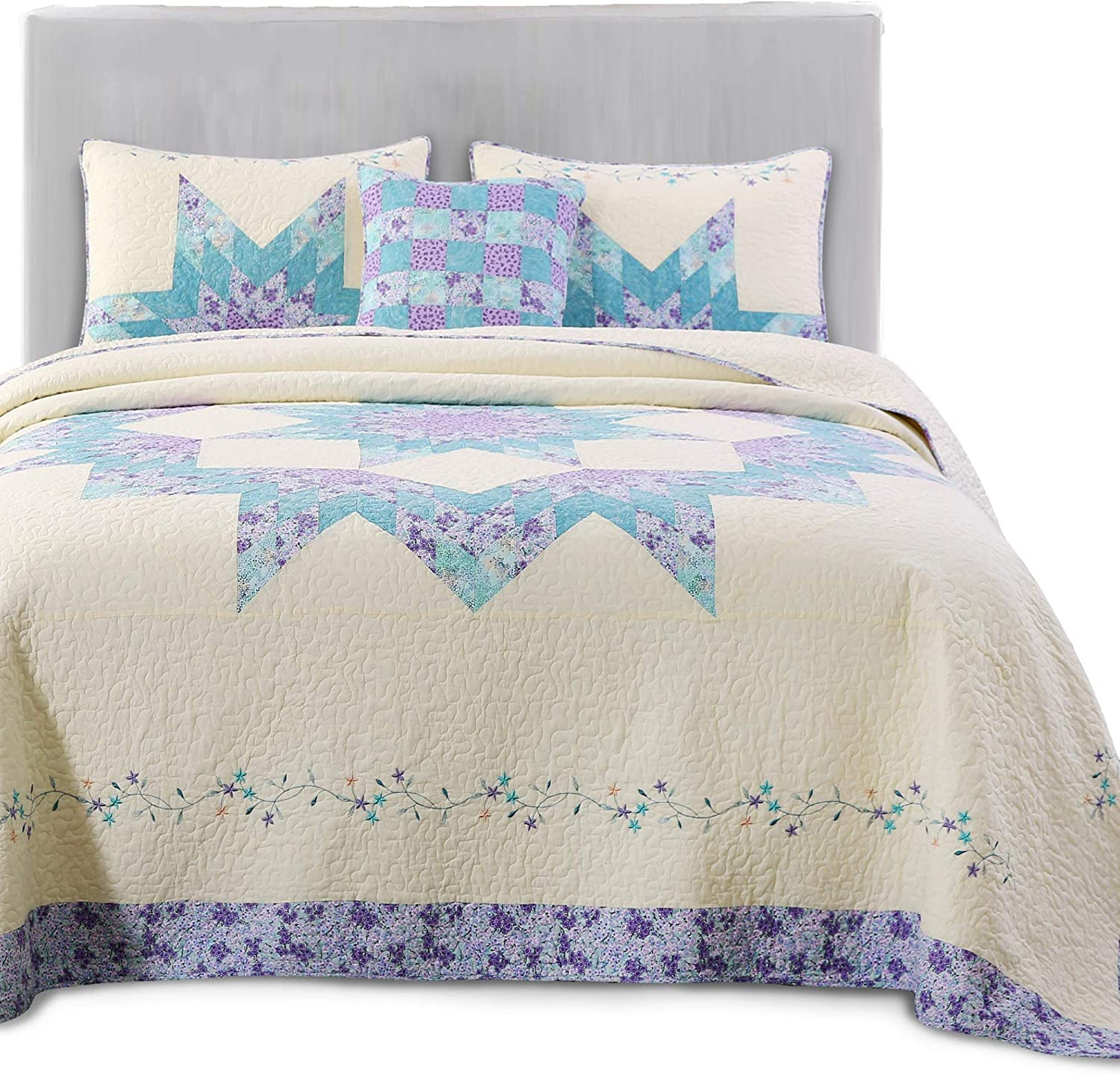 KASENTEX Luxurious Patchwork SEAL limited product Bedspread Embroidery 100% Coverlet Max 70% OFF