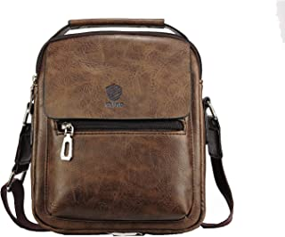 Elios Coffee Front Flap PU Leather Large Capacity Work Travel Wear Messenger Bag For Men
